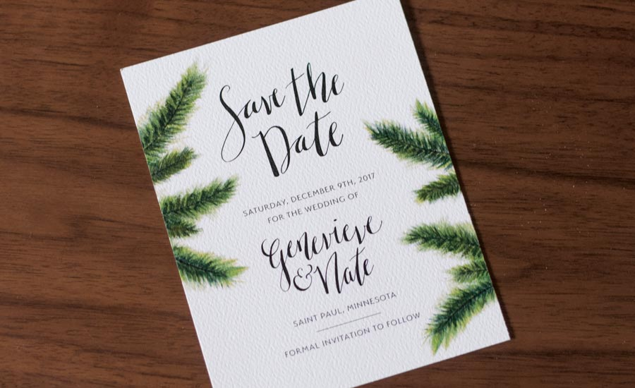 pine branch save the date