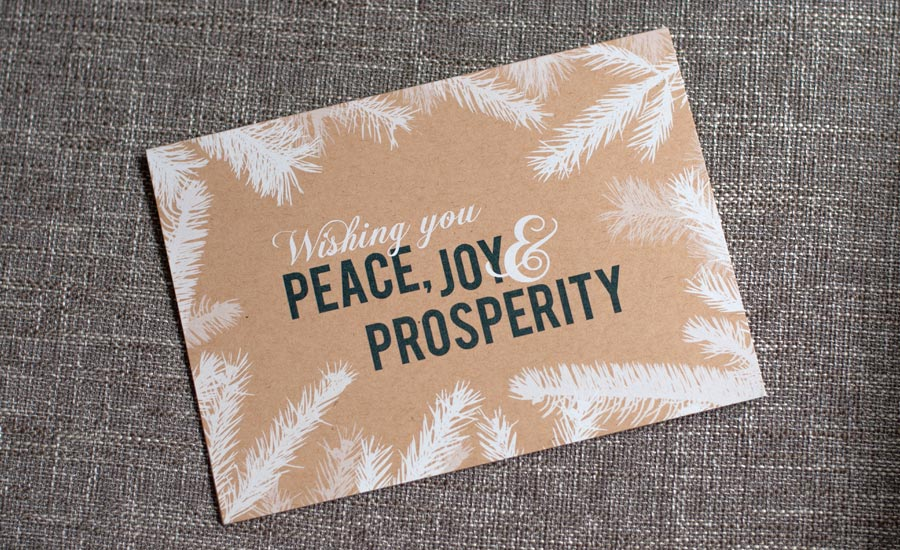 white ink kraft paper holiday card